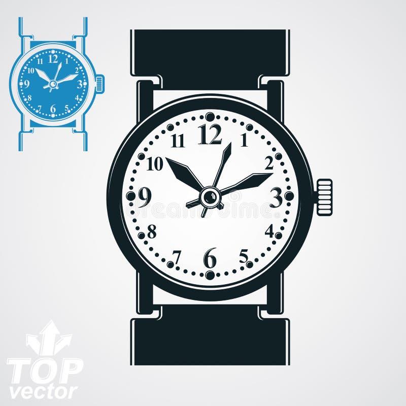 Vector стилизованная иллюстрация наручных часов, вахта кварца с шкалой иллюстрация вектора