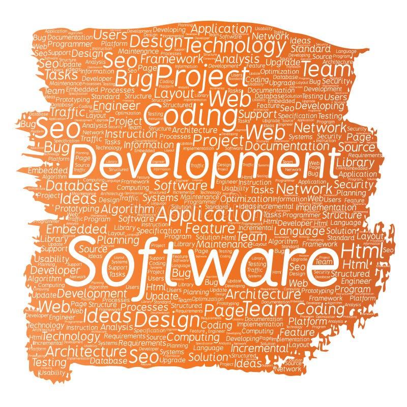 Vector схематическим предпосылка слова кисти технологии кодирвоания проекта разработки программного обеспечения изолированная обл иллюстрация штока