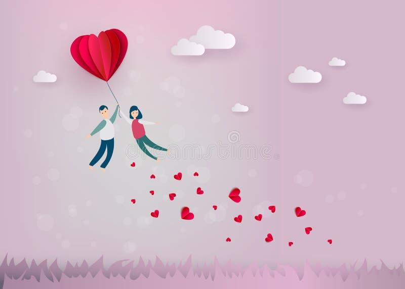Vector счастливый день валентинок, бумажное сердце, пара стоковое изображение