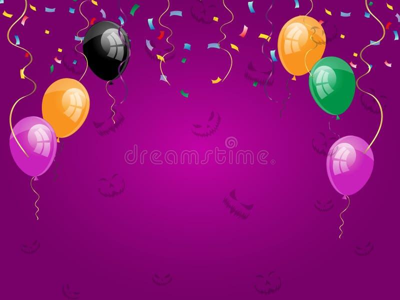 Vector счастливый плакат праздника хеллоуина с черными, оранжевыми воздушными шарами с счастливым хеллоуином на фиолетовой предпо иллюстрация штока