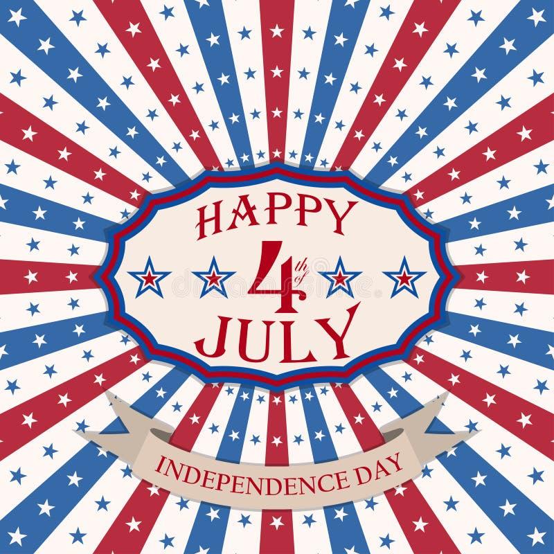 Vector счастливое 4-ая из предпосылки в июле с государственный флаг сша Дизайн Дня независимости США праздничный иллюстрация штока