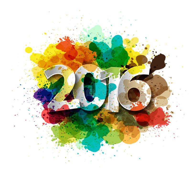 Vector счастливое торжество 2016 Нового Года с красочной краской для пульверизатора иллюстрация вектора