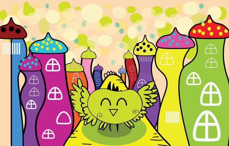 Vector сыч шаржа счастливый в fairy городке бесплатная иллюстрация