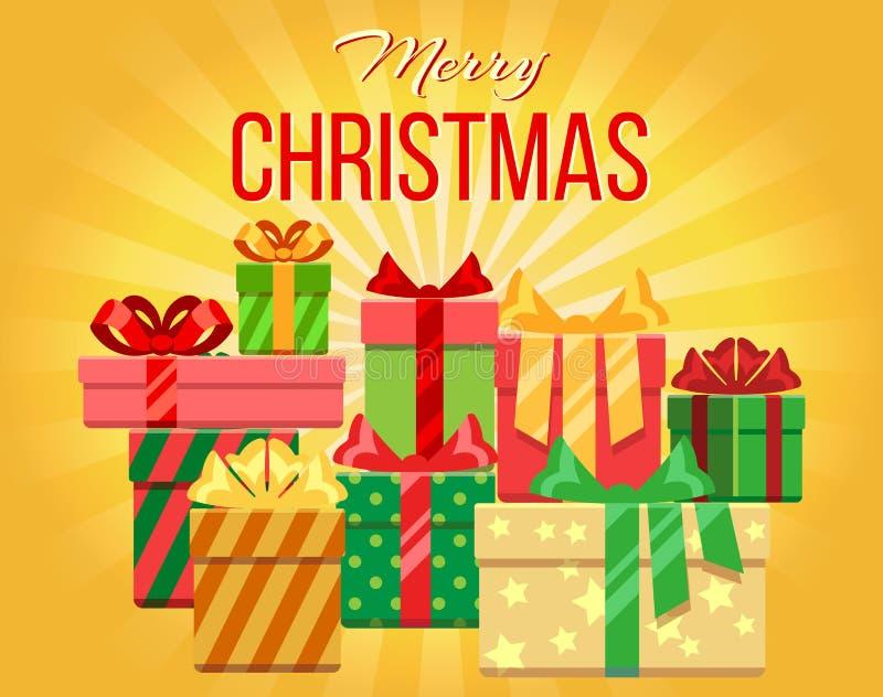 Vector с Рождеством Христовым поздравительная открытка с кучей подарочных коробок иллюстрация штока