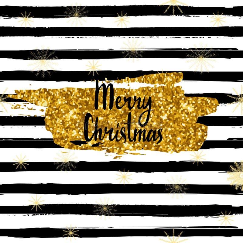 Vector с Рождеством Христовым рождественская открытка, рука нарисованный шрифт, brushstroke с ярким блеском золота бесплатная иллюстрация