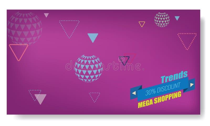 Vector творческие абстрактные знамя Мемфиса или план шаблона плаката Яркая стрелка, лента и другие элементы фиолетовый цвет иллюстрация вектора