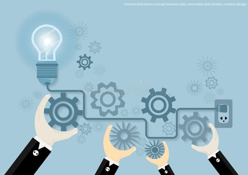 Vector творческие идея дела концепции бредовой мысли, нововведение и решение, дизайн творческого дизайна плоский иллюстрация штока
