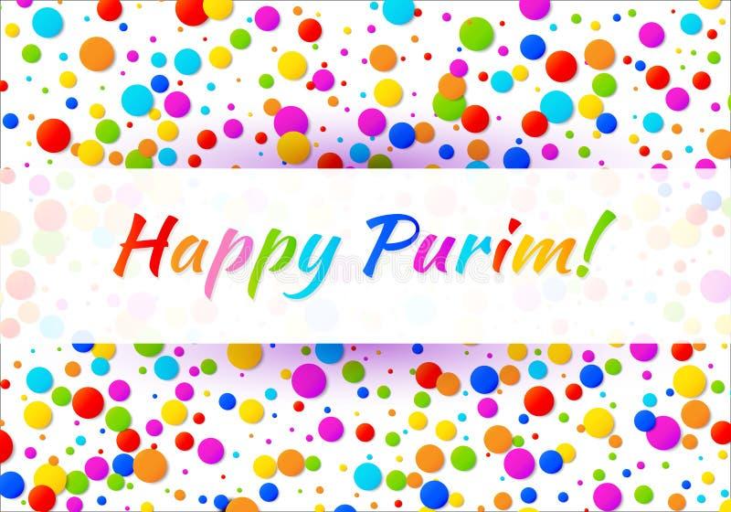 Vector текст масленицы Purim яркой горизонтальной карточки счастливый с предпосылкой рамки confetti красочных цветов радуги бумаж иллюстрация вектора