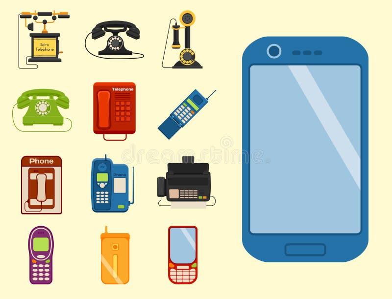 Vector технологии прибора соединения вызывающего параметра телефонного звонка lod телефонов года сбора винограда иллюстрация ретр иллюстрация вектора