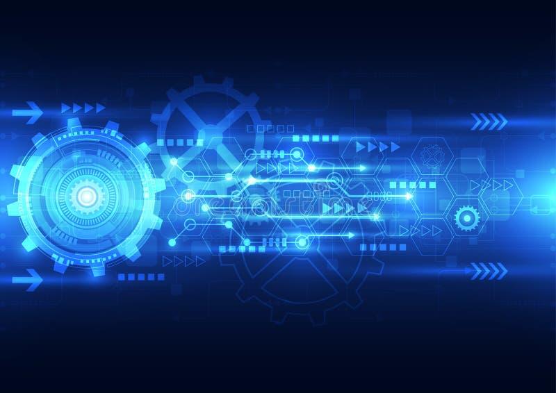 Vector технология абстрактного инженерства будущая, электрическая предпосылка телекоммуникаций иллюстрация вектора