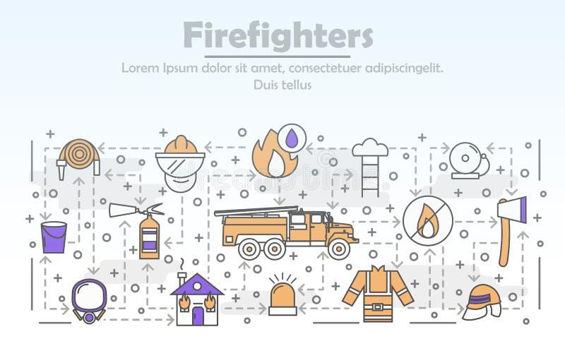 Vector тонкая линия шаблон знамени плаката пожарных искусства бесплатная иллюстрация
