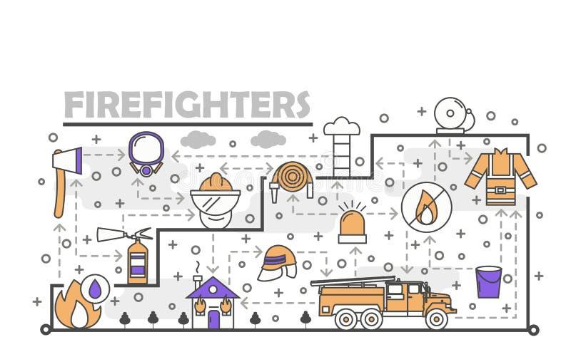Vector тонкая линия шаблон знамени плаката пожарных искусства иллюстрация штока