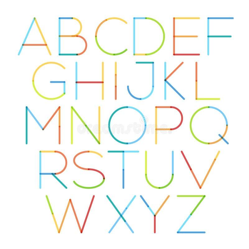 Vector тонкий шрифт с кругом и мягкие ходы иллюстрация штока
