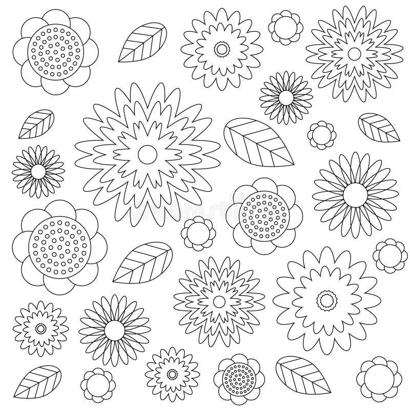Vector луг wildflovers взрослого цветочного узора книжка-раскраски черно-белый - цветки и листья - иллюстрация вектора