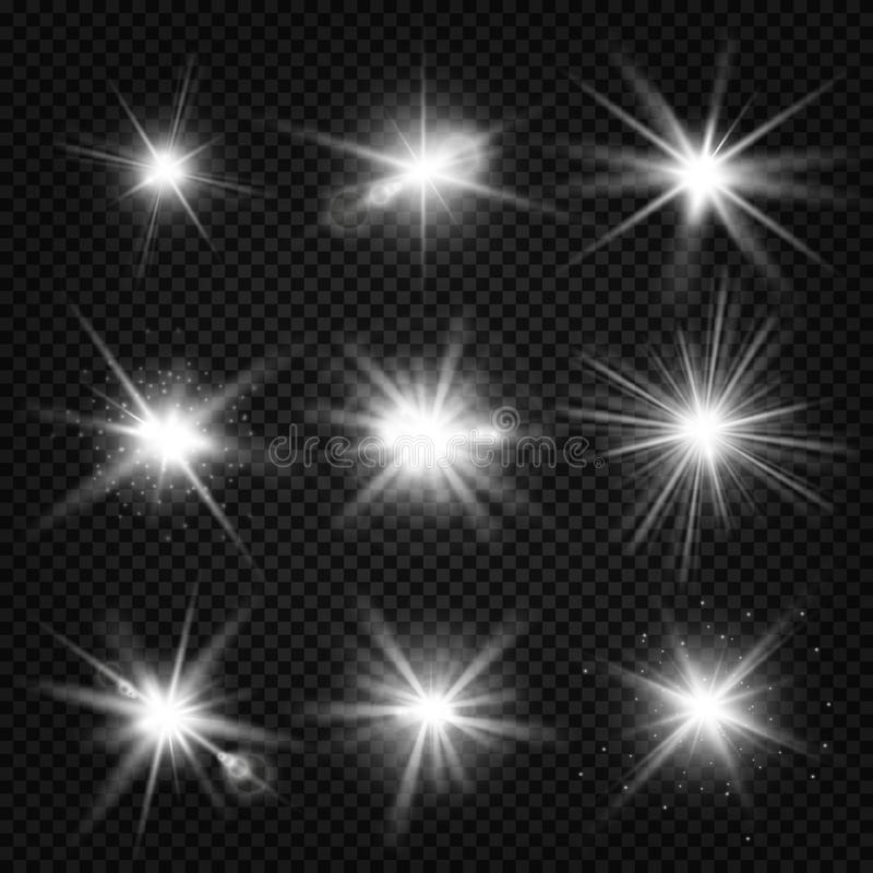 Vector лучи взрыва белизны, накаляя светлый, взрывы звезд с sparkles на прозрачной предпосылке иллюстрация штока