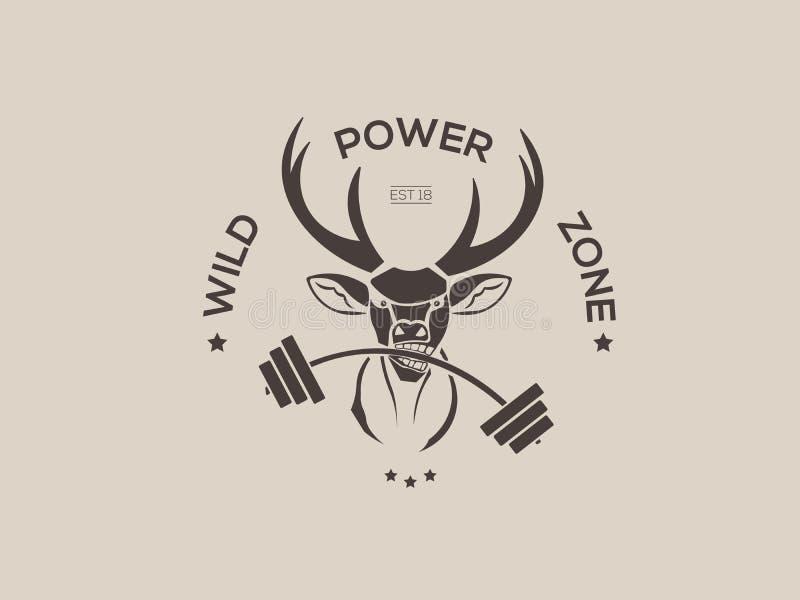 Vector фитнес с значками эмблем логотипов головы оленей ретро, ярлыками шаблоном и элементом дизайна футболки винтажным иллюстрация вектора