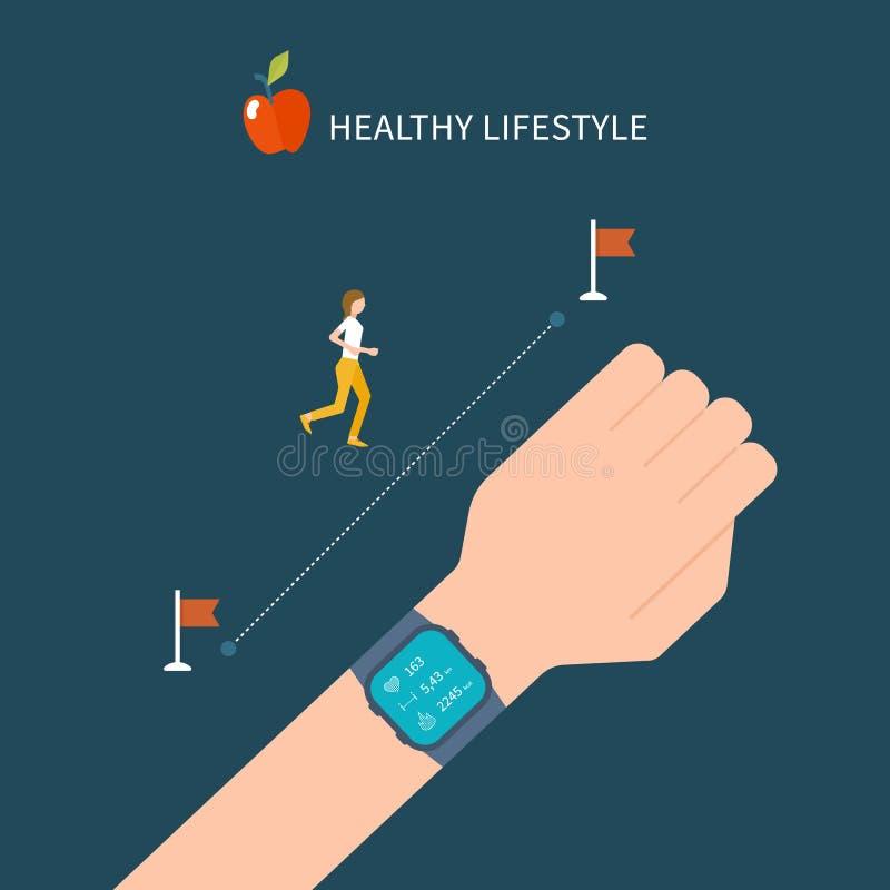 Vector фитнес app на отслежывателе на запястье руки бесплатная иллюстрация