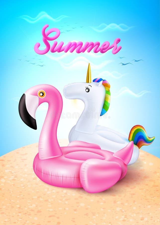 Vector фламинго, кольцо единорога раздувное на пляже иллюстрация штока