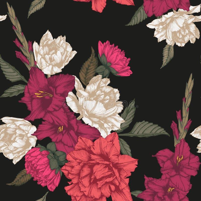 Vector флористическая безшовная картина с тюльпанами, гладиолусом и георгинами иллюстрация вектора
