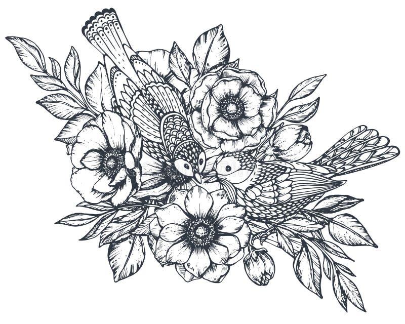 Vector флористический состав нарисованных рукой цветков ветреницы и богато украшенных птиц иллюстрация вектора