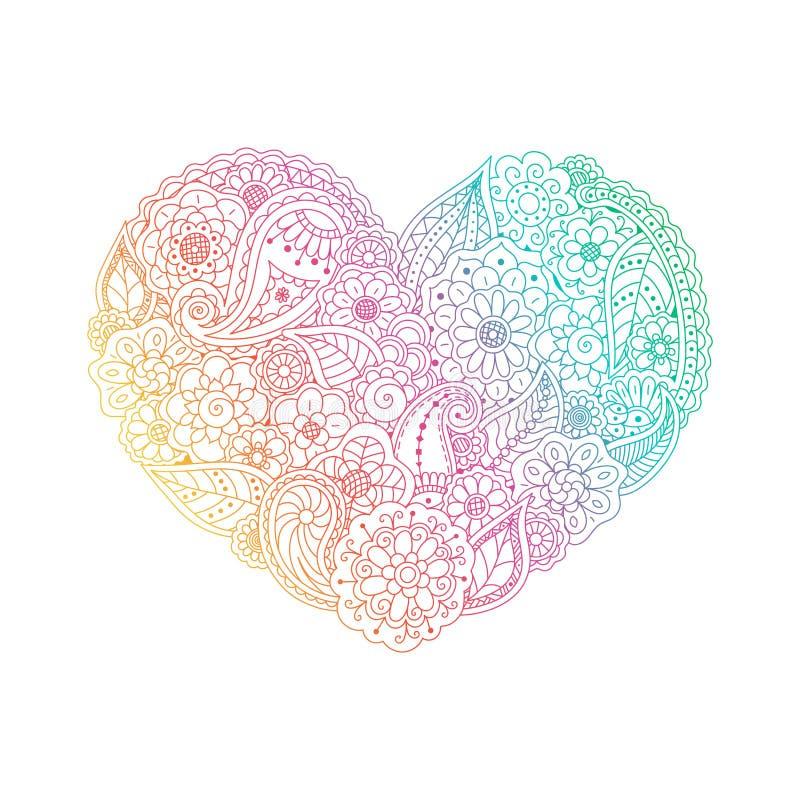 Vector форма сердца градиента флористических элементов doodle иллюстрация вектора