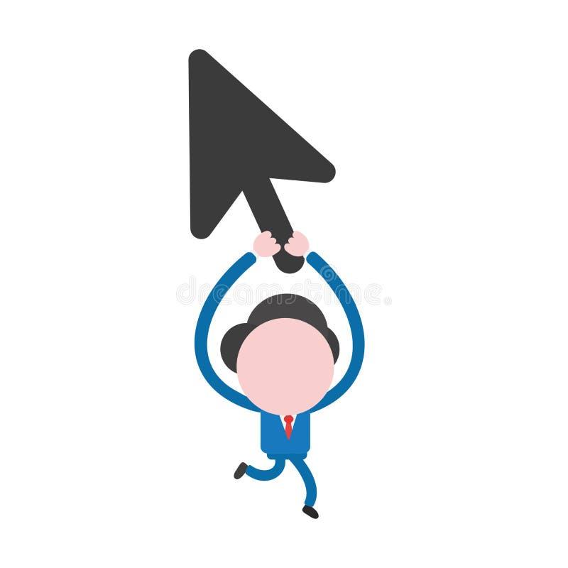 Vector характер бизнесмена бежать и задерживая курсор мыши иллюстрация штока