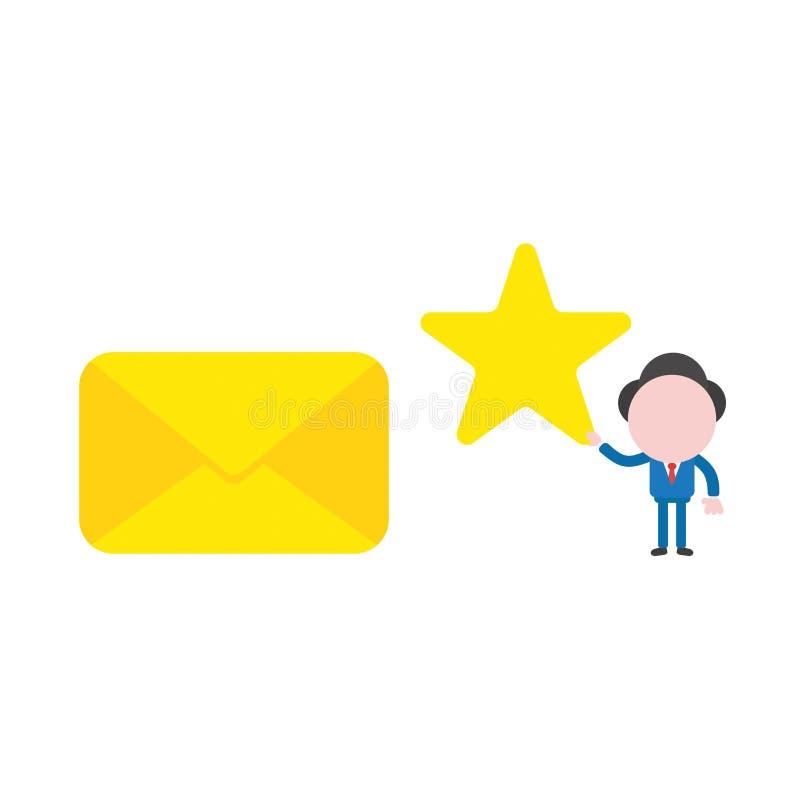 Vector характер бизнесмена иллюстрации держа звезду к закрытому иллюстрация вектора
