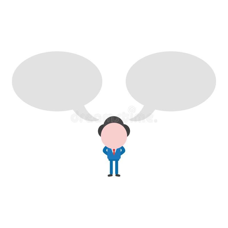 Vector характер бизнесмена иллюстрации с пузырем 2 речей бесплатная иллюстрация