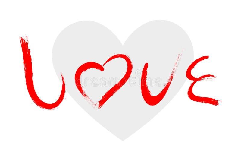 Vector характер влюбленности при картина щетки изолированная на белой предпосылке иллюстрация штока