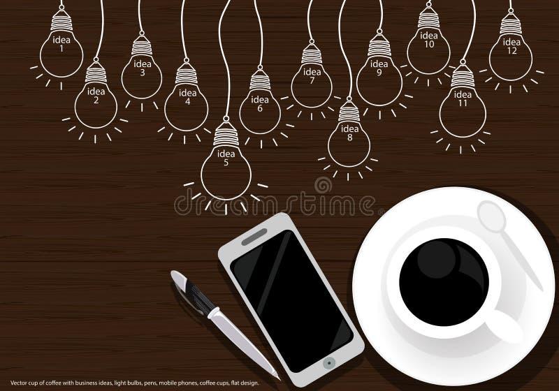 Vector чашка кофе с идеями дела, электрические лампочки, ручки, мобильные телефоны, кофейные чашки, плоский дизайн иллюстрация вектора