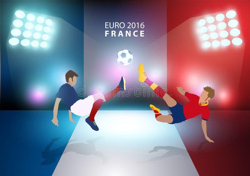 Vector чемпионат 2016 футбола Франции евро с футболистами иллюстрация вектора