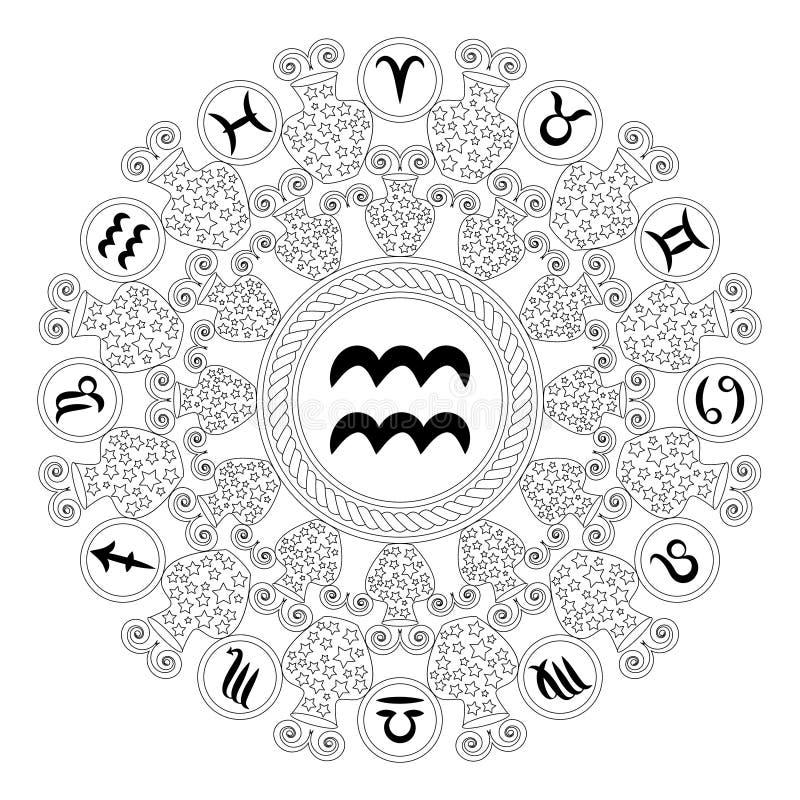 Vector черная белая круглая геометрическая мандала с символом зодиака водолея - взрослой страницы книжка-раскраски иллюстрация вектора