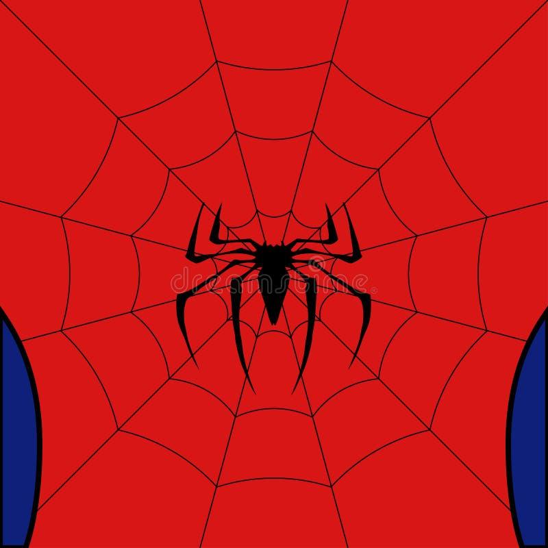 Vector черная сеть с пауком на красной предпосылке иллюстрация вектора