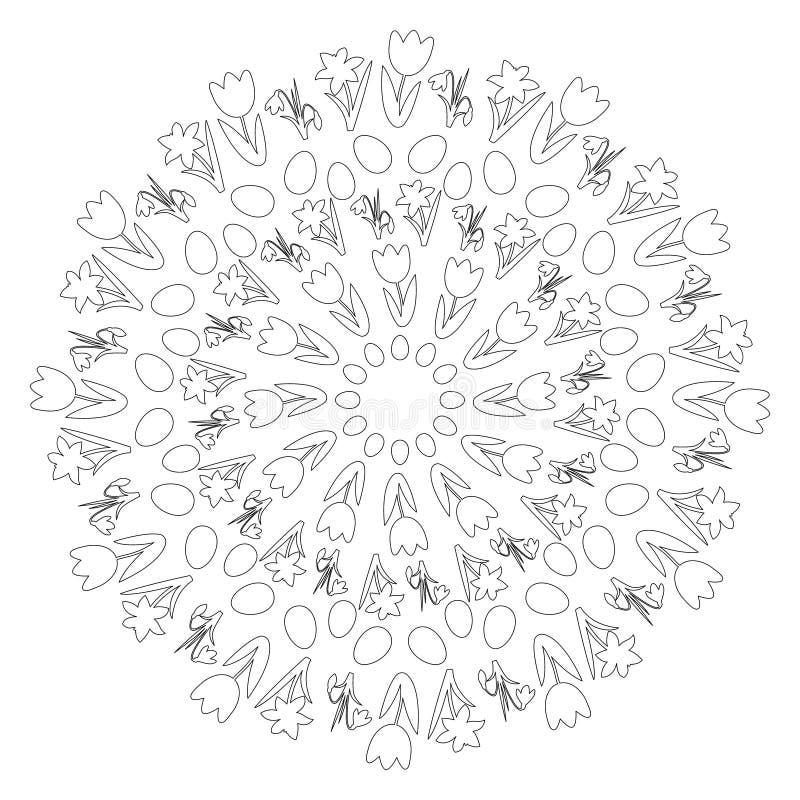 Vector черно-белая круглая мандала весны пасхи с цветками и eggs - взрослая страница книжка-раскраски - тюльпан, daffodil и иллюстрация вектора