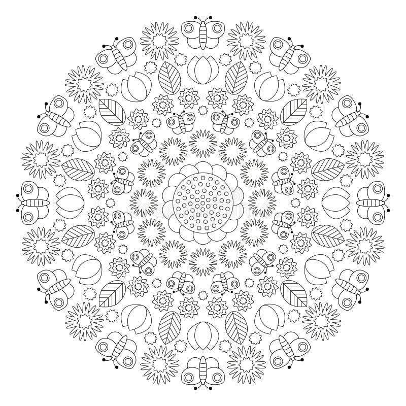 Vector черно-белая мандала весны с бабочками, цветками, листьями, тюльпанами - взрослой страницей книжка-раскраски иллюстрация штока
