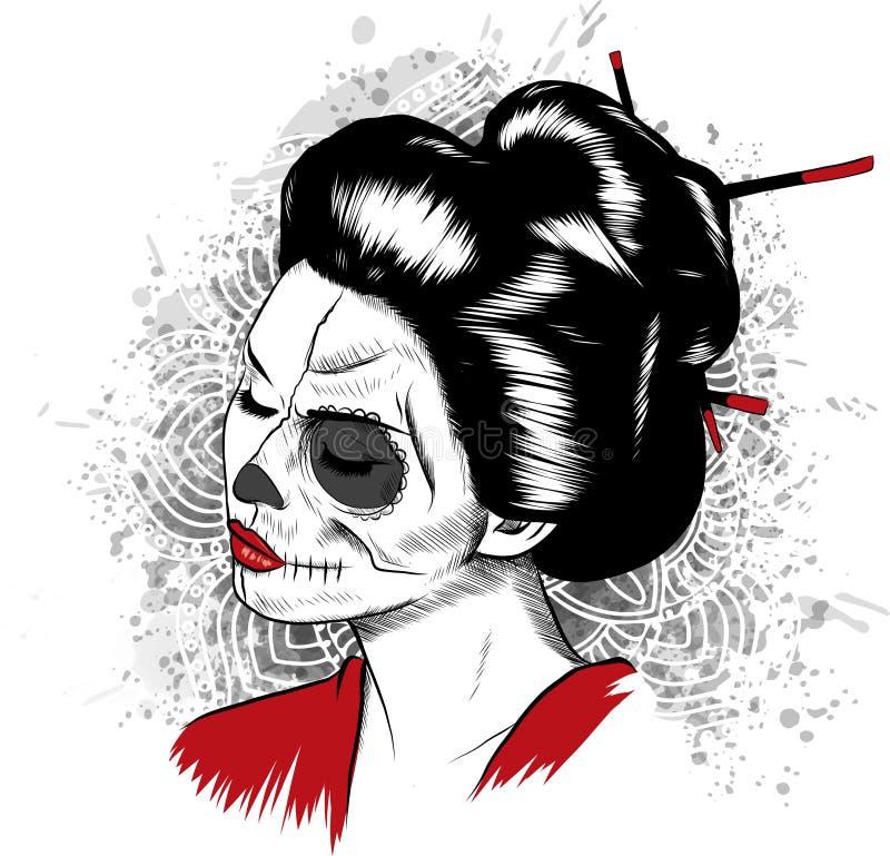 Vector черно-белое изображение японской женщины черепа гейши с покрашенной стороной иллюстрация вектора