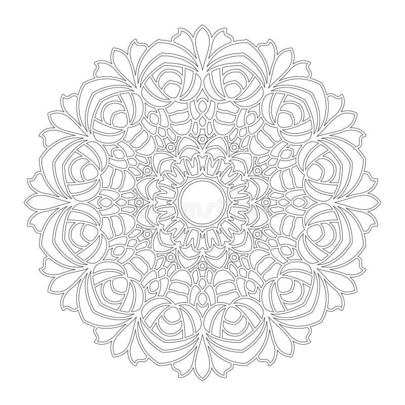 Vector черно-белая геометрическая флористическая мандала с цветками - взрослая страница книжка-раскраски бесплатная иллюстрация