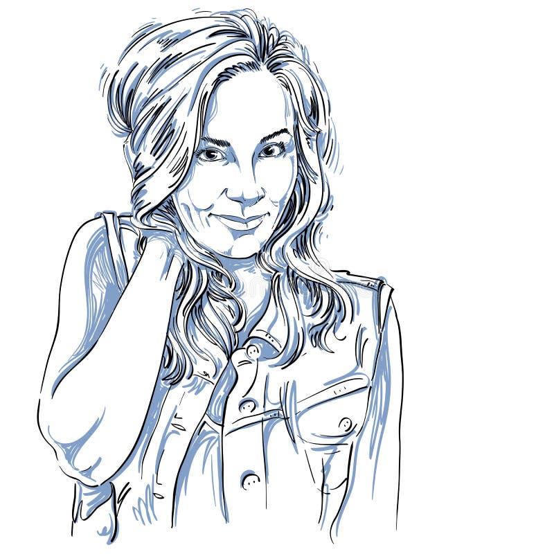 Vector чертеж искусства, портрет шикарной flirting изолированной девушки иллюстрация вектора