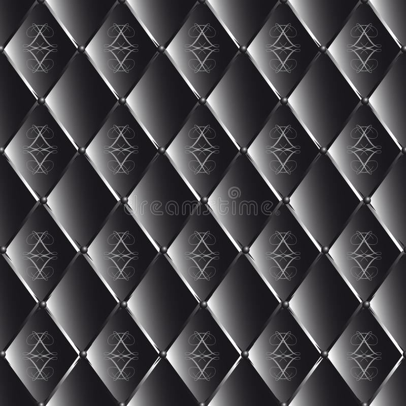 Vector чертеж кожи выстеганной чернотой с геометрической картиной иллюстрация вектора