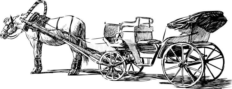 Лошадь и экипаж иллюстрация вектора