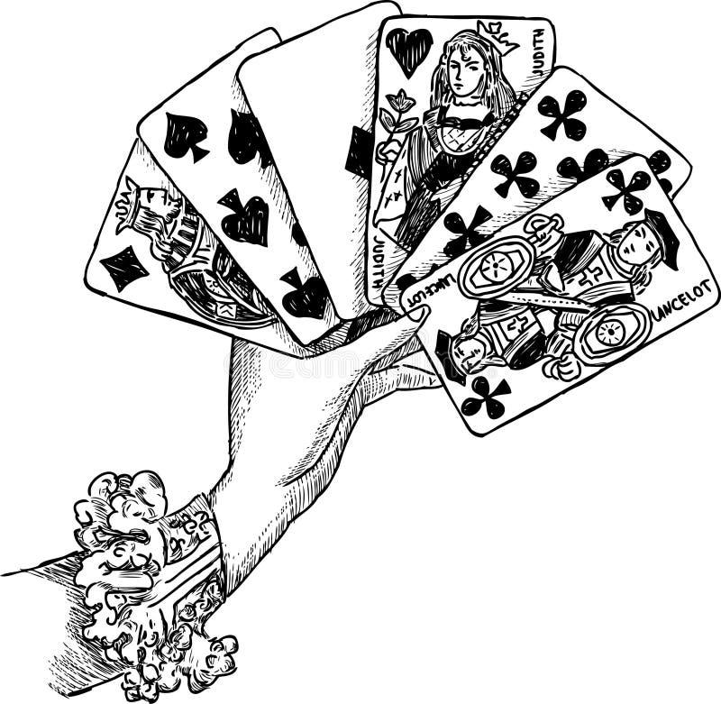 Рука с играя карточками иллюстрация вектора