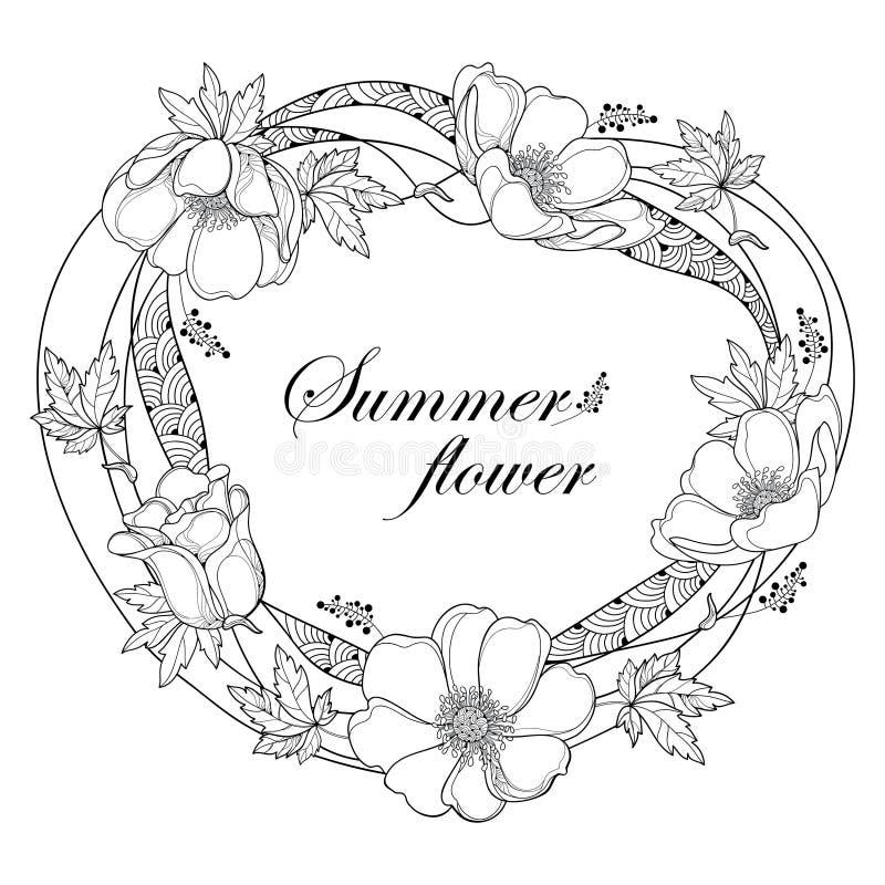 Vector чертеж руки венка плана круглого при цветок или Windflower ветреницы, бутон и лист в черноте изолированные на белой предпо иллюстрация вектора