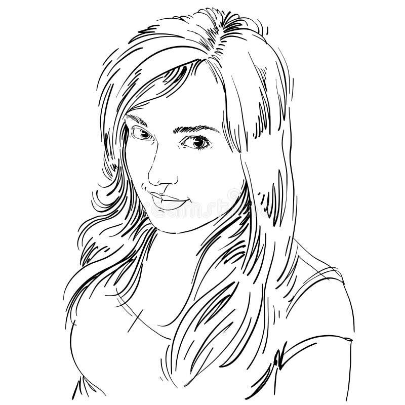 Vector чертеж усмехаясь сексуальной flirting женщины с стильным hairc иллюстрация вектора