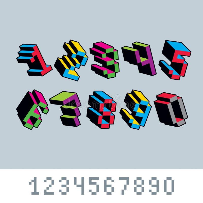 Vector числа, цифры созданные в стиле 8 битов Номер искусства пиксела иллюстрация штока