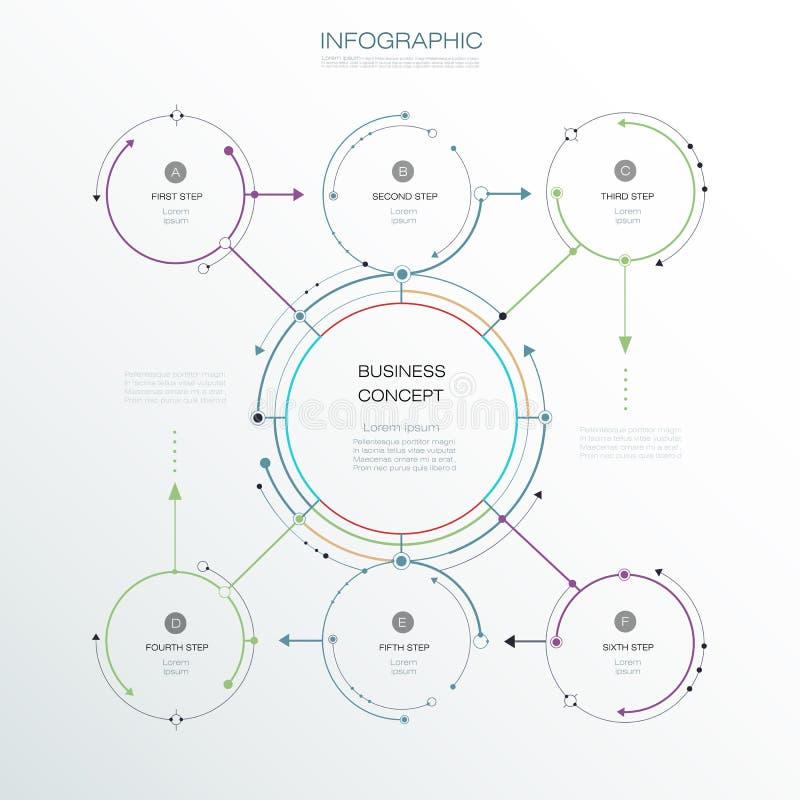 Vector шаблон Infographic, дизайн круга с стрелками подпишите иллюстрация штока