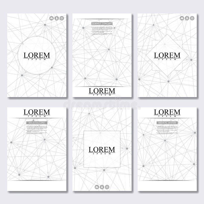 Vector шаблон брошюры, рогулька, кассета крышки в размере A4 Молекула структуры дна и нейронов абстрактная предпосылка иллюстрация штока