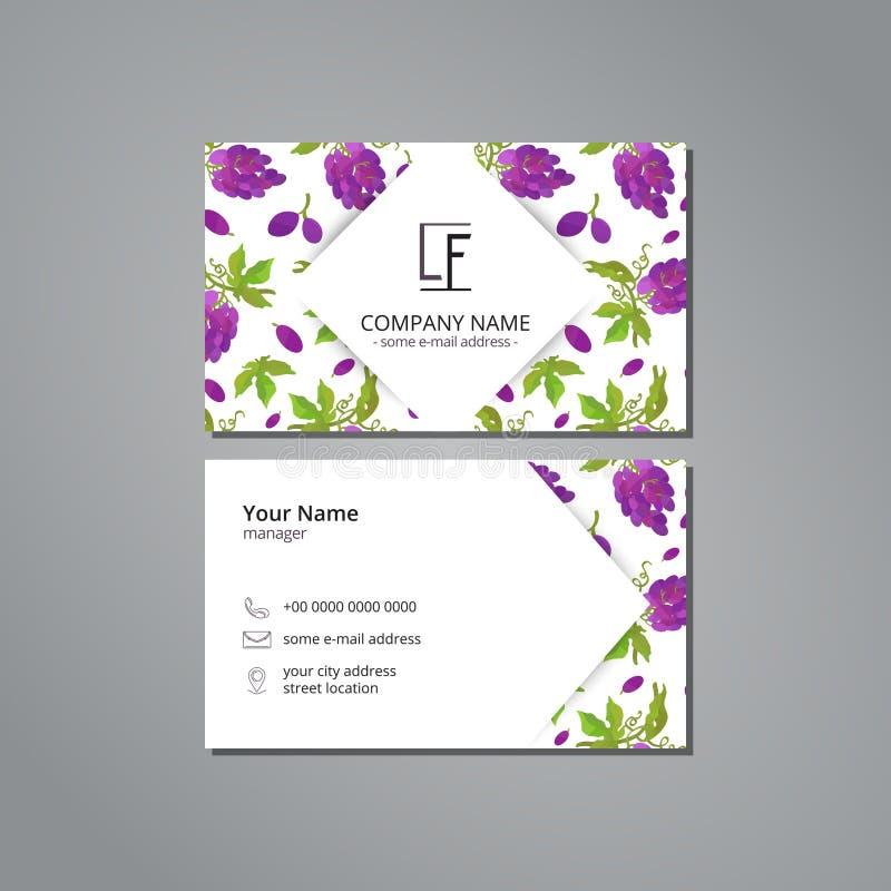 Vector шаблон карточки посещения с связкой винограда картины с листьями бесплатная иллюстрация
