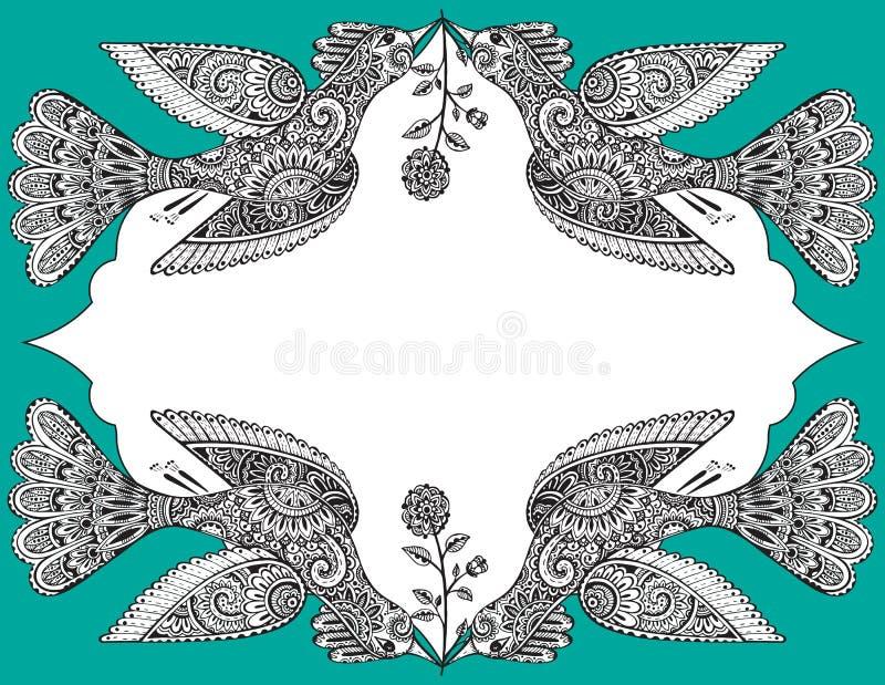 Vector шаблон поздравительной открытки с красивой птицами нарисованными рукой богато украшенными иллюстрация вектора