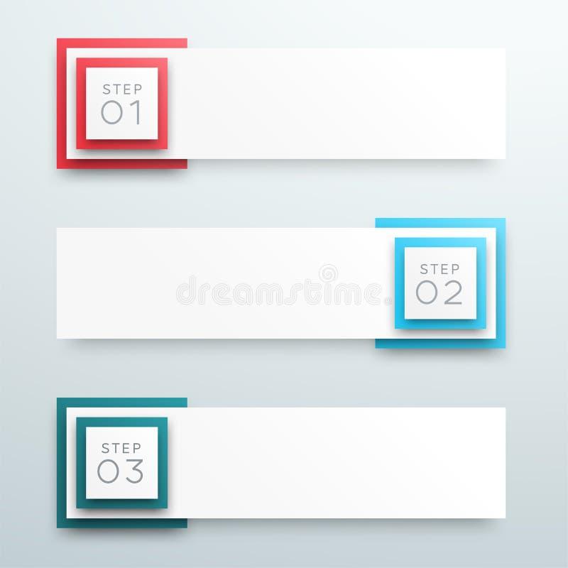 Vector шаги Infographic a знамени текстового поля 3d 1 до 3 иллюстрация штока