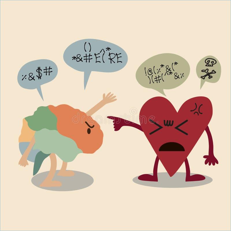 Vector шарж конфликта между мозгом и сердцем иллюстрация штока